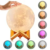 Moon Lamp, ICOCO 3D Luna Moon Lamp Dimmable Tap Control LED Night Light 8 Colors, USB Rechargeable Home Decorative Light 3D Printing Moon Lamp for Creative Gift with Wooden Holder 5.9 inch