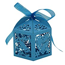 DDLBiz Creative Hollow Out Cross Laser Cut Favor Candy Box for Baby Shower Wedding Birthday Party with Ribbon 25pc (Blue)