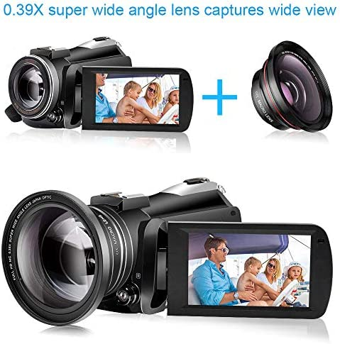 Video Camera 4K Camcorder ZOHULU Vlog Camera for YouTube, HD Digital Camera with 30X Digital Zoom and Night Vision, Video Recorder with Microphone, Wide Lens (32GB SD Card, 2 Batteries Included) 51XtBcS7laL