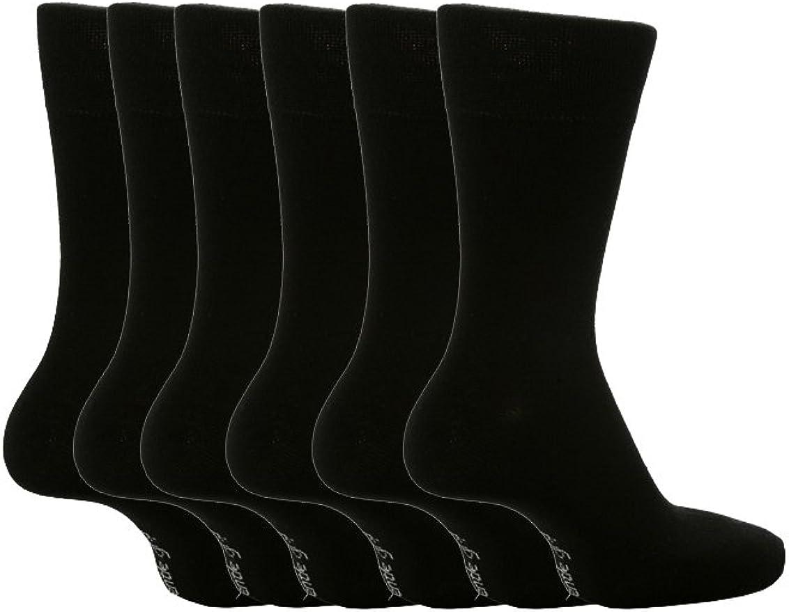 Mens Gentle Grip Non Elastic Diabetic Soft Comfortable Cotton Socks black white