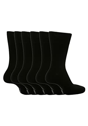 6 Pairs Sockshop Mens Gentle Grip cotton rich Socks 7-12 usa Plain Colours (Blacks MGG100) at Amazon Mens Clothing store: