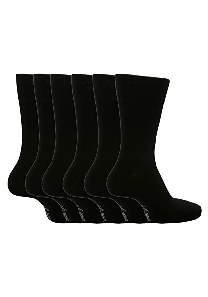 f6a20f2d8f91 6 Pairs Sockshop Men's Gentle Grip cotton rich Socks 7-12 usa Plain Colours  (