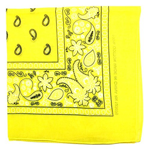 Paisley One Dozen Cowboy Bandanas (Yellow, 22 X 22 in) (Yellow Paisley Bandana)