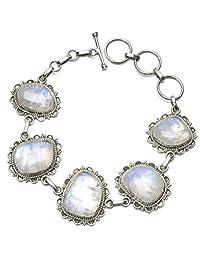 "StarGems(tm) Natural Rainbow Moonstone Unique Punk Style 925 Sterling Silver Bracelet 7-8"""