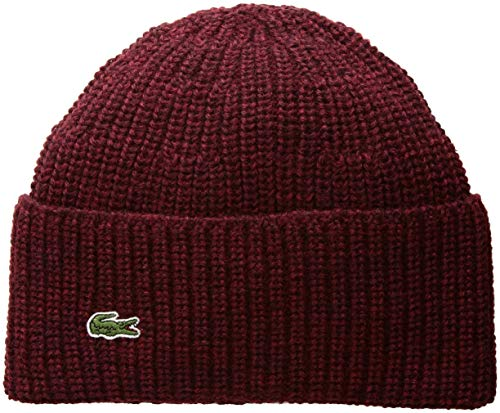 Lacoste Men's Rib Knitted Contrast Beanie, Sauge Chine, One Size