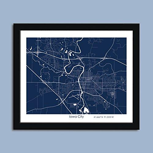 Iowa City map, Iowa City city map art, Iowa City wall art poster, Iowa City decorative map