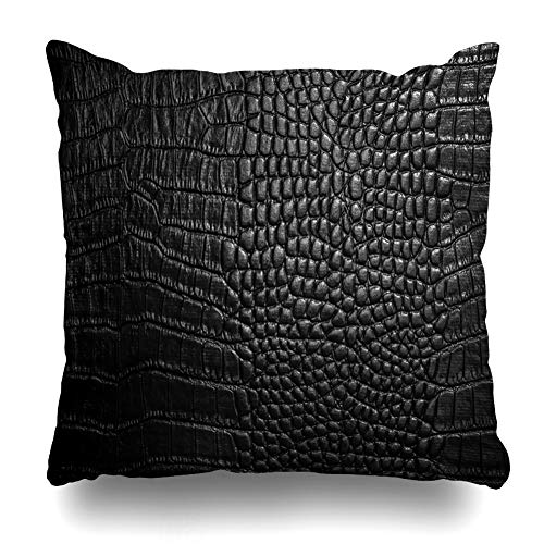 (KJONG Crocodile Leather Crocodile Leather Alligator Skin Picture Printing Square DecorativePillow Case 20 x 20inch Zippered Pillow Cover for Bedroom Living Room(Two Sides Print))