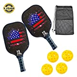 Pickleball Paddle,Best Pickleball Paddle set of 2,Lightweight Graphite Pickleball Racket Polypro Honeycomb Composite Core.Included 2 pickleball Paddles and 4 pickleball Balls.(2 paddles set)
