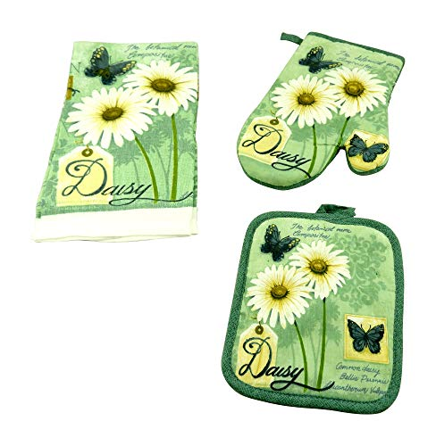(DINY Home & Style 3 Piece Kitchen Set Includes Towel Pot Holder & Oven Mitt Daisey & Butterfly Design)