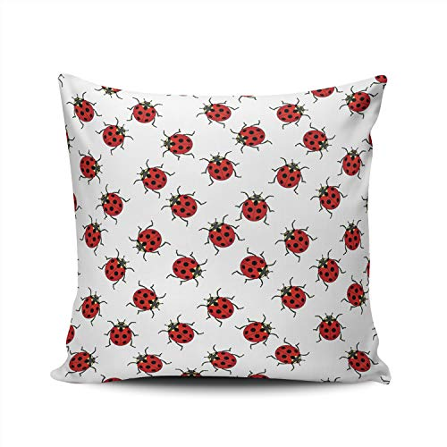 (ONGING Decorative Throw Pillow Case Ladybugs Pillowcase Cushion Cover Double Sided Design Printed Square Size 20X20)