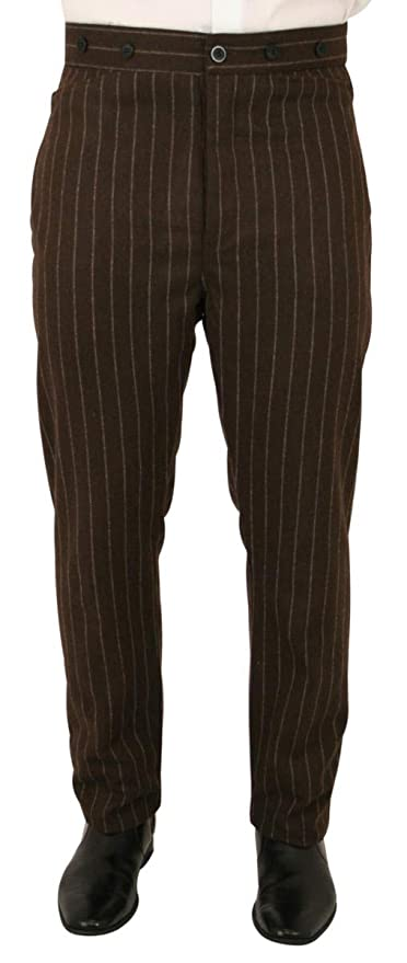 Victorian Men's Pants – Victorian Steampunk Men's Clothing Historical Emporium Mens Wool Blend Bosworth Pinstripe Dress Trousers $79.95 AT vintagedancer.com
