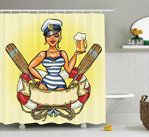 [Girly Decor Shower Curtain Set by Ambesonne, Pin-Up Sexy Sailor Girl in Lifebuoy with Captain Hat and Costume Glass of Beer Feminine Design, Bathroom Accessories, 84 Inches Extralong,] (L Themed Costumes)