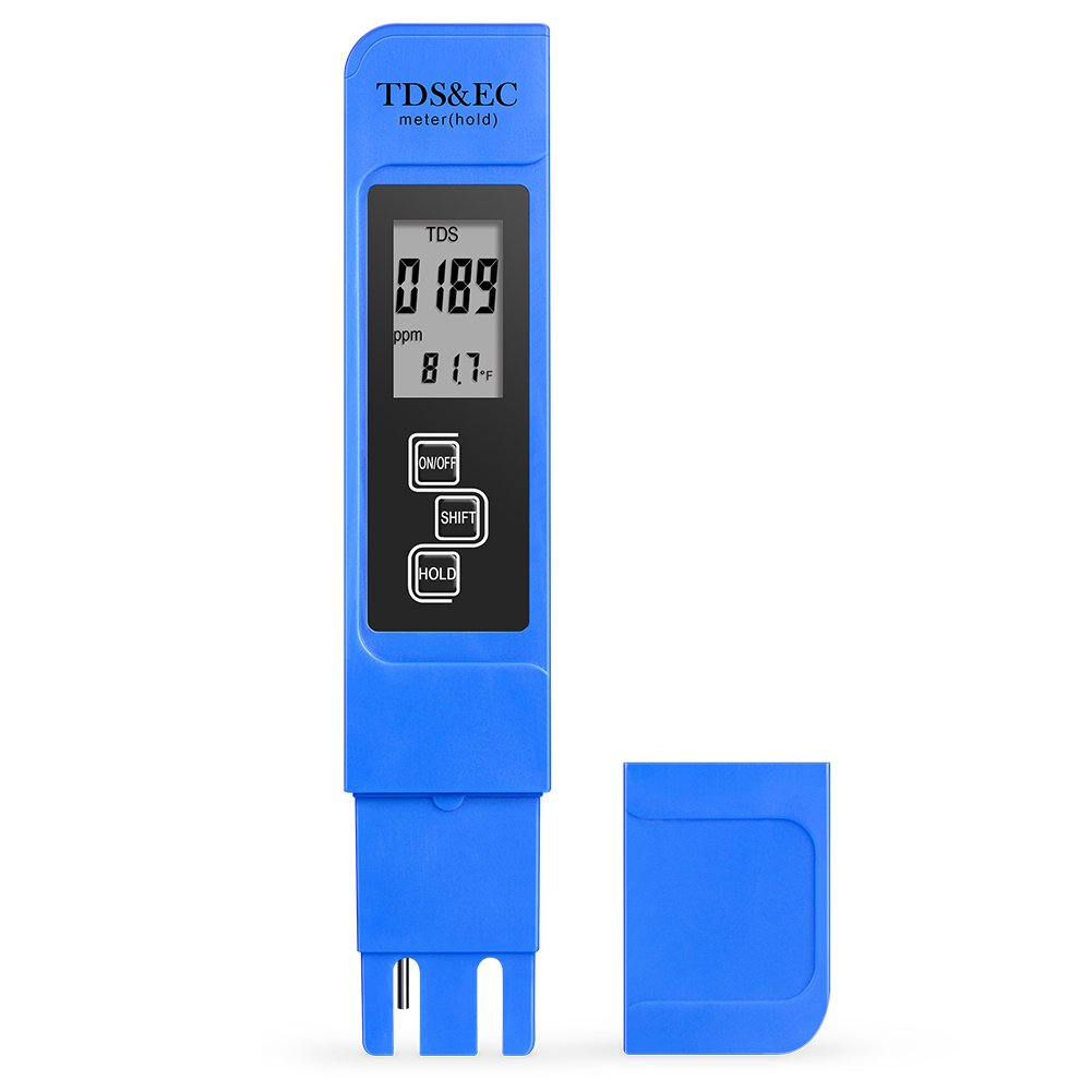 TDS Meter, 3-in-1 Digital Water Quality Tester (TDS, EC & Temp), High Accuracy, 0-9999ppm, Ideal Portable Water Test Kit for Drinking Water, Aquariums and More(Blue) EC & Temp) Aquariums and More(Blue) KooPower
