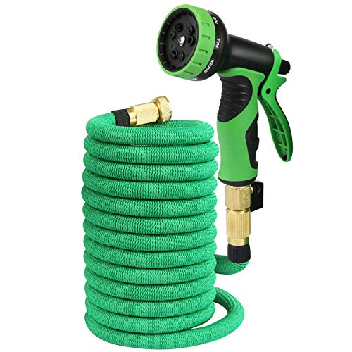50ft Expandable Garden Hose, Expanding Water Hose with 9 Pattern High Pressure Lightweight Flexible Spray Nozzle and Metal Hanger