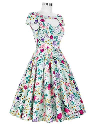 K Noche mujer Farbe Vestido Vintage Dress Manga corta GK para Rzqvf4ww