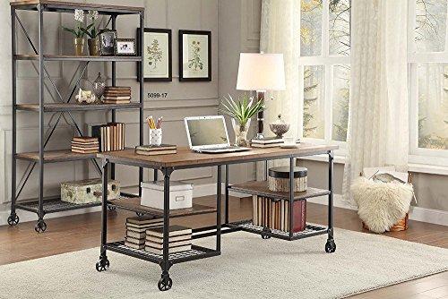 Homelegance 5099-15 Wood and Metal Writing Desk, Brown/Black