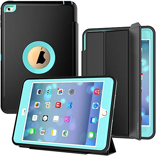 iPad Mini 4 Case, SEYMAC Three Layer Drop Protection Rugged Protective Heavy Duty iPad Mini Stand Case with Magnetic Smart Auto Wake/Sleep Cover for iPad Mini 4th Generation (Black/Light Blue)