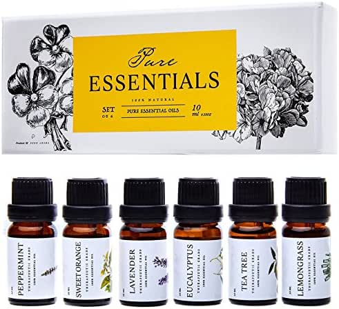 Essential oils by PURE ESSENTIALS 100% Pure Therapeutic Grade Oils kit- Top 6 Aromatherapy Oils Gift Set-6 Pack, 10ML(Eucalyptus, Lavender, Lemon grass, Orange, Peppermint, Tea Tree)