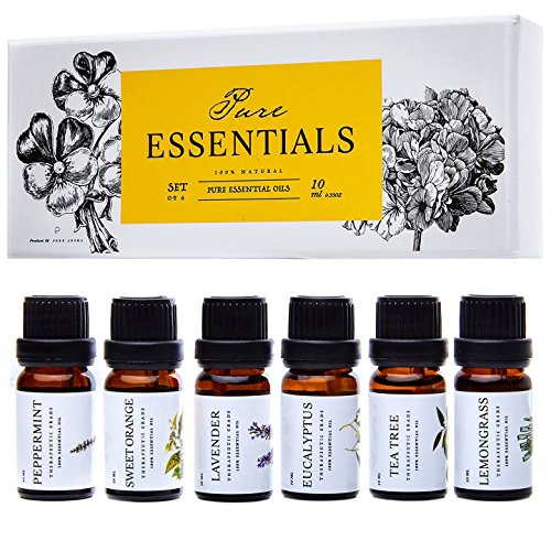 Essential oils by PURE ESSENTIALS 100% Pure Therapeutic Grade Oils kit- Top 6 Aromatherapy Oils Gift Set-6 Pack, 10ML(Eucalyptus, Lavender, Lemon grass, Orange, Peppermint, Tea - Basic Essential Oil