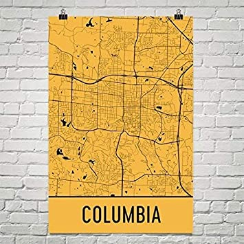 Amazon Com Modern Map Art Columbia Mo Poster Columbia Mo