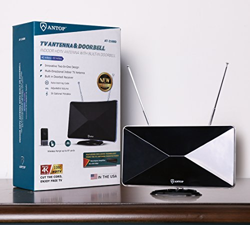 TV Ring HDTV Antenna Indoor Miles Long Range with Built-in Alert System 2 1 Design