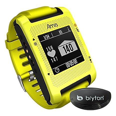 Bryton Amis S430H - Reloj GPS para Running con Sensor cardíaco Ant+, Color Amarillo