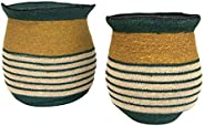 "Creative Co-op 13.25"" & 14.25"" Handwoven Natural Seagrass Striped (Set of 2 Sizes)"