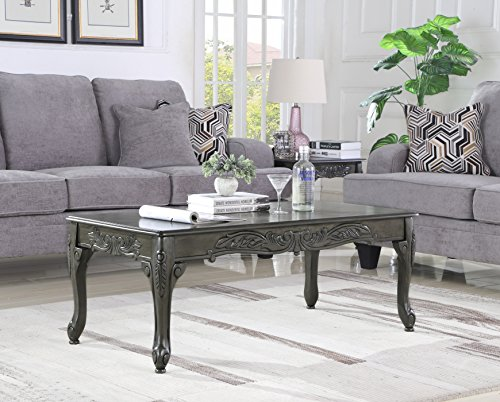Roundhill Furniture OC0017GY Traditional Ornate Detailing Wood Coffee Table, Grey