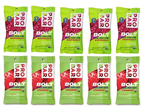 Probar Bolt Organic Energy Chews Bundle Raspberry and Strawberry - Six of Each Flavor, Box of 12 ...