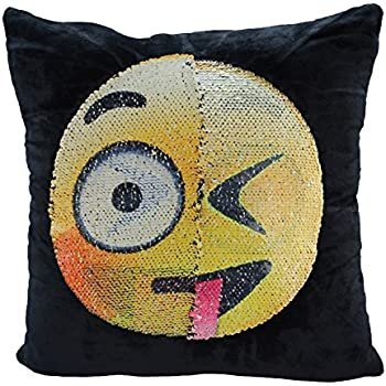 "Mermaid Sequin Pillow Case,SNUG STAR Reversible Emoji Cushion Cover Changeable Face Pillowcases DIY Decorative Pillowcase for Sofa Home Decor 16 X 16""(Dull and naughty)"