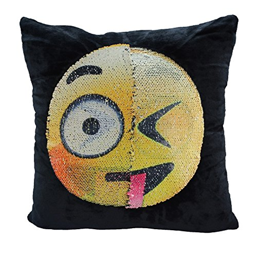 SNUG STAR Mermaid Sequin Pillow Case, Reversible Emoji Cushion Cover Changeable Face Pillowcases DIY Decorative Pillowcase for Sofa Home Decor 16 X 16(Dull and Naughty) (Naughty Pillows)