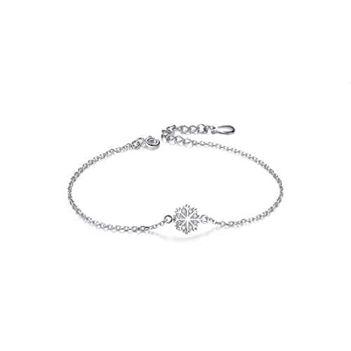HZB Pure Silver Bracelet Simple Snowflake Fresh Jewelry Birthday Gift Girlfriend Amazonca