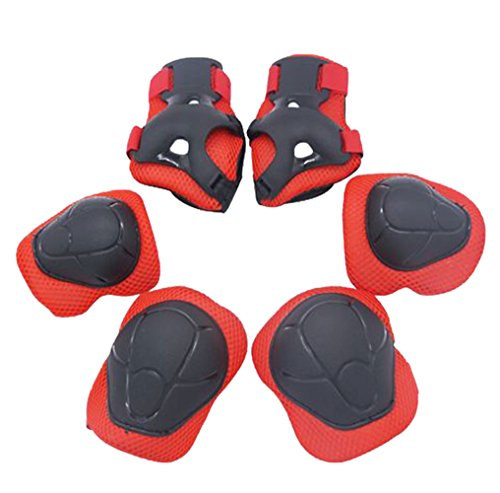 ChildrenKids-Knee-Elbow-Wrist-Protective-Pads-SetCENDA-Child-Multi-Sport-Helmet-With-Knee-Pads-Elbow-Wrist-Protection-for-Skateboard-Cycling-Skate-Scooter-Cycling-Inline-Roller-Skating-Red