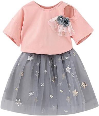 Julhold - Camiseta de tul con broche para niña + falda de tul gris ...