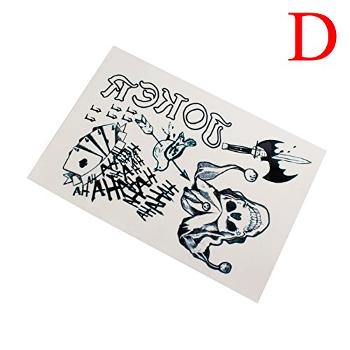 Cool Joker Costumes (Waterproof Halloween Full Body Joker Stickers Decal Cosplay Party Temporary Tattoos, D)