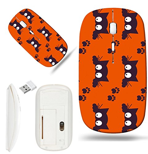 Luxlady Wireless Mouse White Base Travel 2.4G Wireless Mice with USB Receiver, 1000 DPI for notebook, pc, laptop, mac design IMAGE ID: 44353644 Happy Halloween Background Seamless pattern Collection o