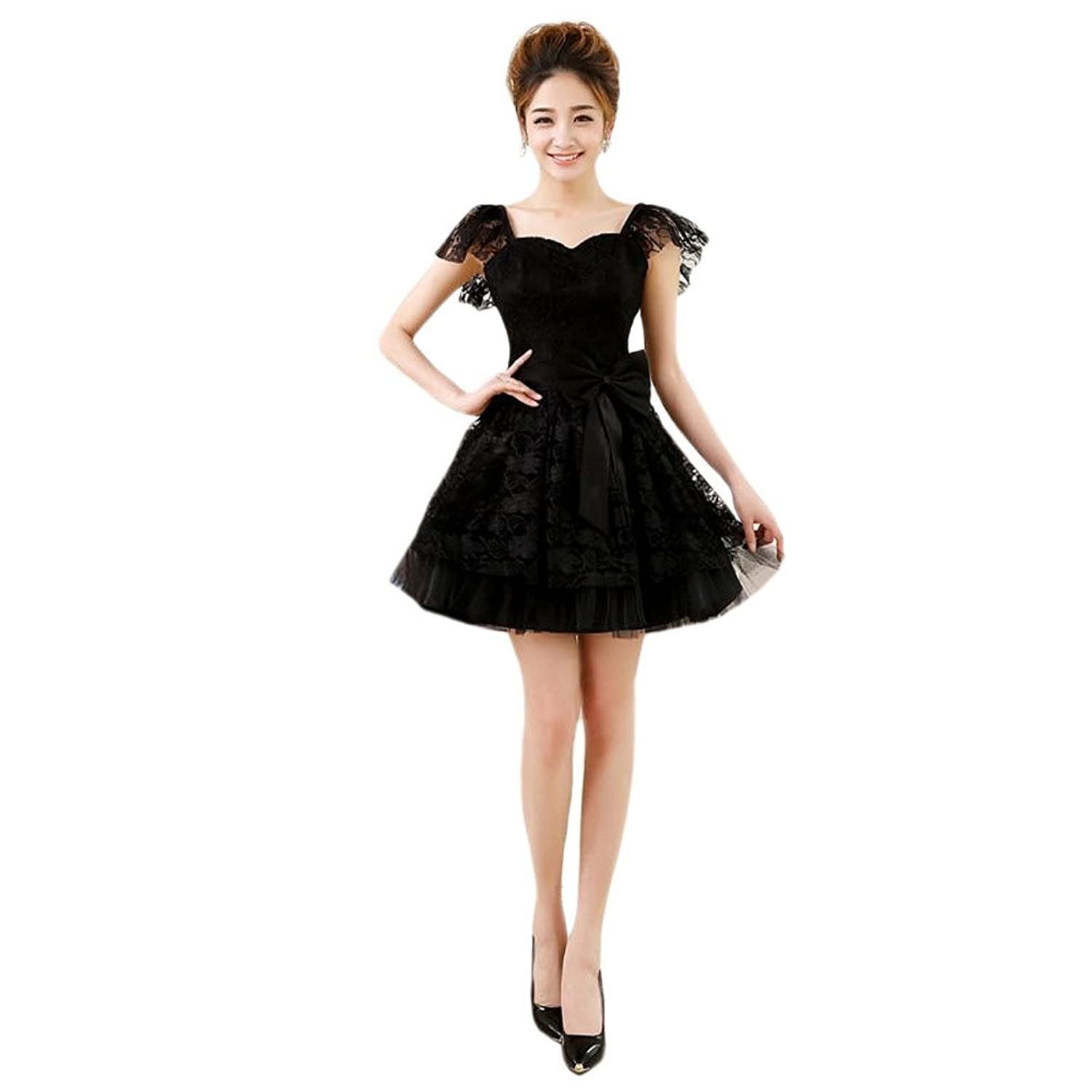 Vimans? Girl's Sexy Short Black Lace Bowknot Bridesmaid Dresses for Wedding