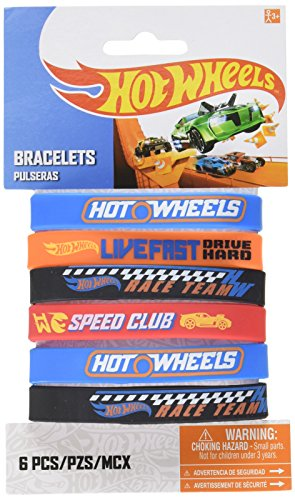 Fast Riding Hot Wheels Wild Racer Birthday Party Rubber Bracelet Favours, Multi Colored, Rubber, 2 1/2