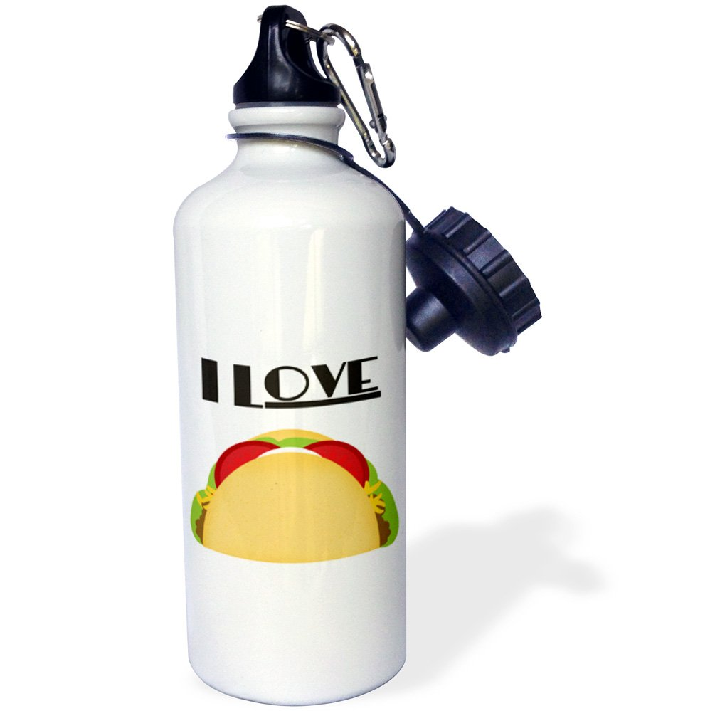 3dRose wb_152088_1 I Love Tacos Mexican Food Art Sports Water Bottle, 21 oz, White