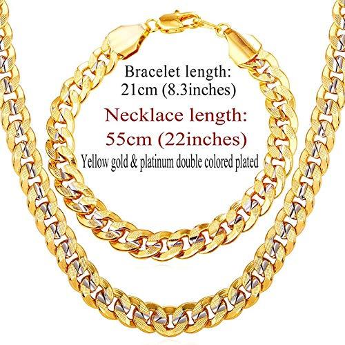 Men's Trendy Hip Hop Two Tone Gold Color Jewelry Set | Big Link Chain Necklace, Bracelet Sets (9mm) ()