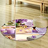 Non Slip Round Rugs Lavender Themed Relaxing Joyful Spa Day with Aromatherapy Oils and Candles Purple and Oriental Floor and Carpets