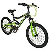 20' Boys Dual Suspension Mountain Bike in Black and Green Childrens Muddyfox Force
