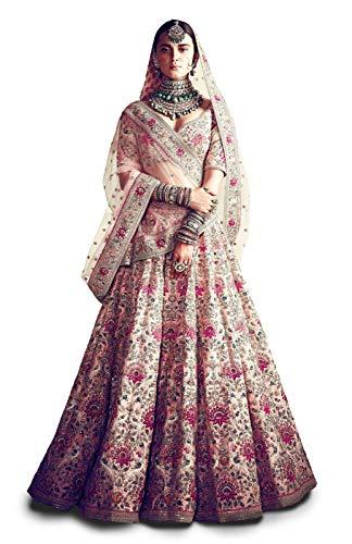 Zeel Clothing Women's Silk Semi stitched Lehenga Choli (7035_Peach_Free Size)