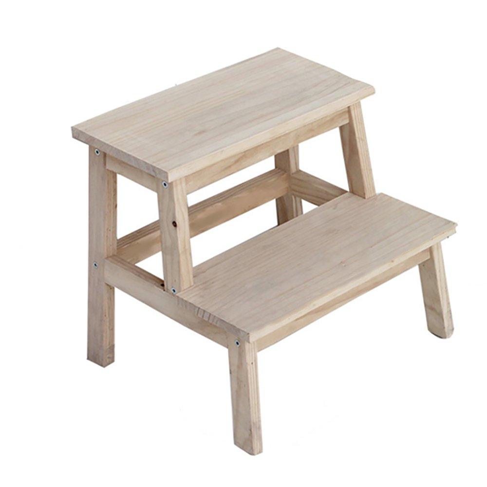 無垢材ステップスツール大人ステッピングスツール子供用はしごフラワースタンド棚 (色 : 木の色) B07FP5QH3B 木の色 木の色