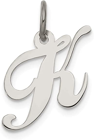 Solid 925 Sterling Silver Small Script Initial Letter W Alphabet Charm Pendant 16mm