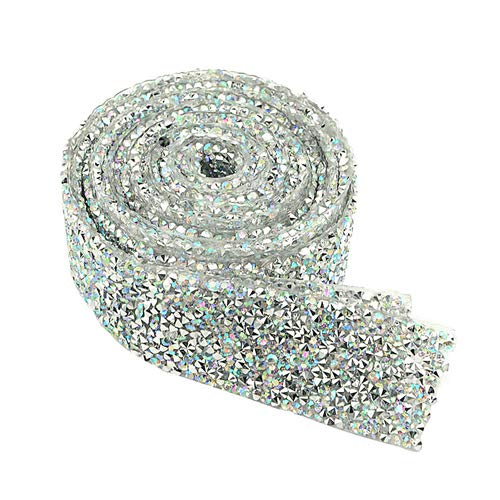 XLX 3cm Wide 2 Yard Rhinestone Diamond Ribbon Adhesive Diamond Belt Glue Patch Decorated Chainfor Crafts Project Birthday Decorations Baby Shower Events and Art Furniture Headboard Clothing(Colorful)