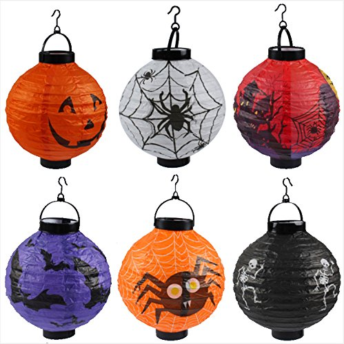 Malak Halloween Lanterns Decoration  Pumpkin Lanterns With Led Light  Hanging Indoor And Outdoor Lanterns  6 Pcs
