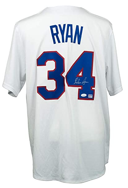 a92a83327 Nolan Ryan Signed Majestic Texas Rangers Cooperstown Collection Jersey JSA