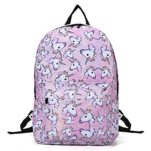 DRESHOW Unicorn Backpack For Girls, Tezoo 3D Unicorn Print Multi Color Rainbow Unicorn Backpack, School College Bag For Teens Girls Students(1 Backpack) (Womens Unicorn)