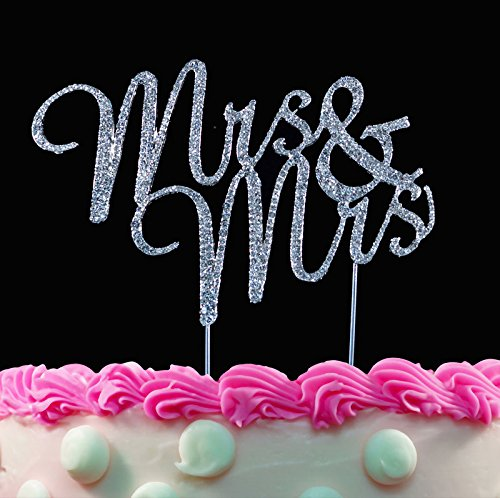 Mrs & Mrs Gay Wedding Cake Toppers Crystal Caketop Decorations by Yacanna (Mrs & Mrs)
